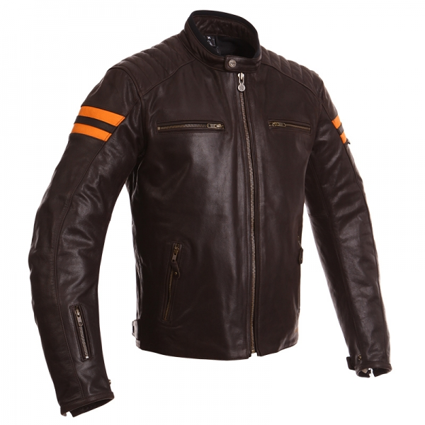 Blouson Cuir Retro Marron/Orange Segura